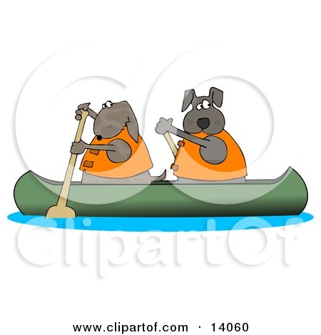 Two Dogs in Lifejackets Paddling a Canoe and Looking Back Clipart Illustration by djart