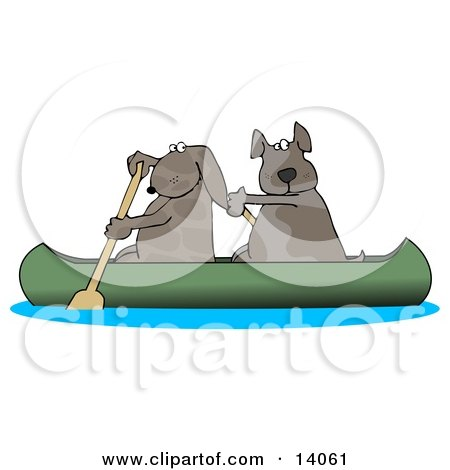 Two Dogs Paddling a Canoe and Looking Back Clipart Illustration by djart