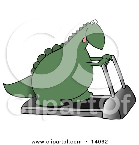 Green Dino Exercising on a Treadmill Machine in a Fitness Gym Clipart Illustration by djart