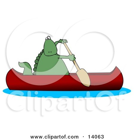 Green Dino Paddling a Red Canoe Posters, Art Prints