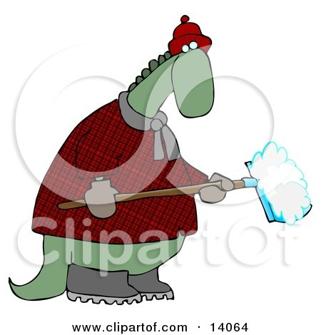 Green Dino in a Coat and Hat, Shoveling Snow in Winter Clipart Illustration by djart