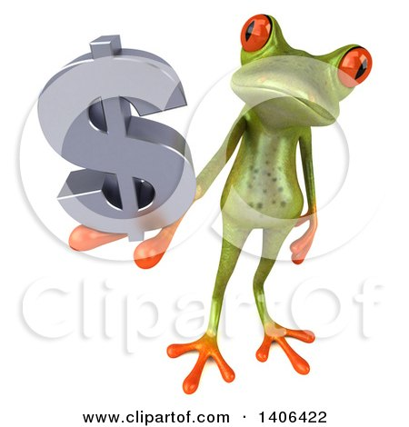 Clipart of a 3d Green Frog, on a White Background - Royalty Free Illustration by Julos
