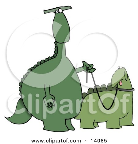 Green Dino Standing Upright and Walking His Pet Dino on a Leash Clipart Illustration by djart