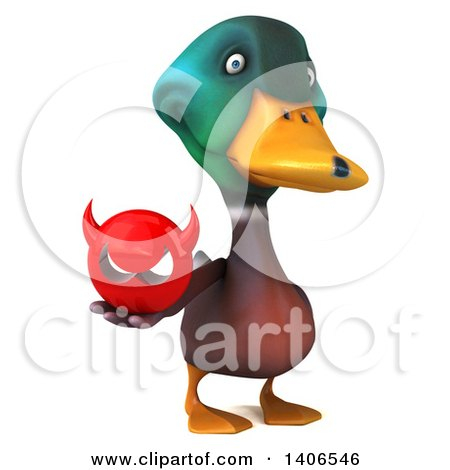 Clipart of a 3d Mallard Drake Duck, on a White Background - Royalty Free Illustration by Julos