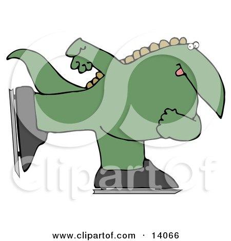 Green Dino Ice Skating Clipart Illustration by djart