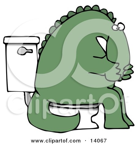 Green Dino Covering His Mouth or Nose While Sitting on a Toilet Clipart Illustration by djart