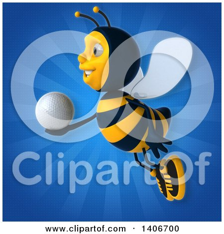 Clipart of a 3d Male Bee - Royalty Free Illustration by Julos