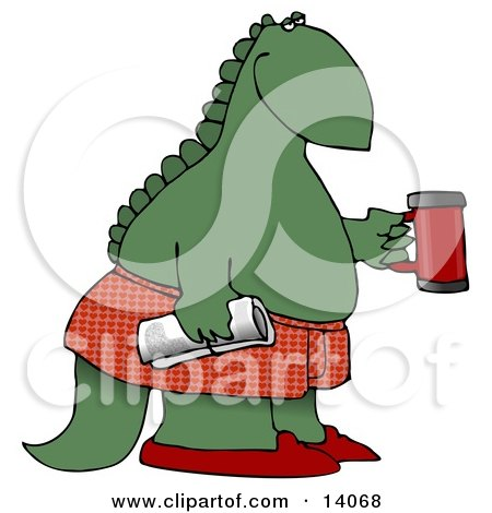 Green Dino in Boxers and Slippers, Holding a Coffee Mug and Newspaper Posters, Art Prints