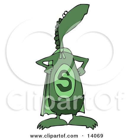 Green Super Dino in a Cape, Standing Proud Clipart Illustration by djart