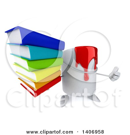 3d Can of Red Paint Character Holding a Stack of Books, on a White Background Posters, Art Prints