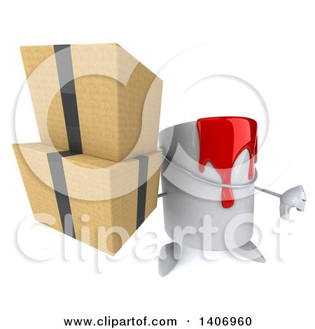 3d Paint Can Character Holding Boxes, on a White Background Posters, Art Prints