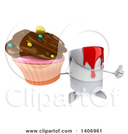 3d Can of Red Paint Character Holding a Cupcake, on a White Background Posters, Art Prints