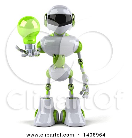 Clipart of a 3d White and Green Robot Holding a Light Bulb, on a White Background - Royalty Free Illustration by Julos
