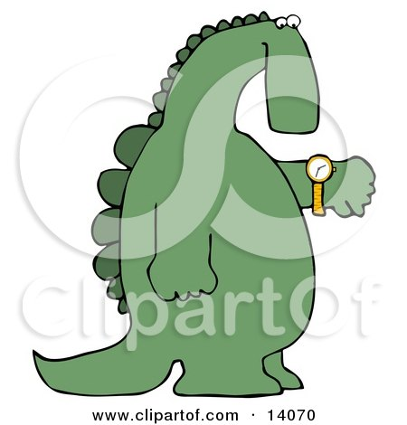Green Dino Looking at His Wrist Watch to Check the Time Clipart Illustration by djart