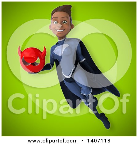 Clipart of a 3d Young Female Black Super Hero in a Dark Blue Suit - Royalty Free Illustration by Julos