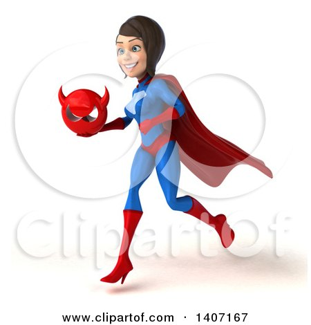 Clipart of a 3d Young Brunette White Female Super Hero in a Blue and Red Suit, on a White Background - Royalty Free Illustration by Julos