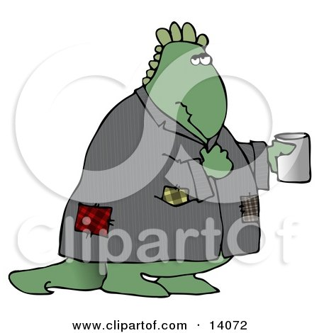 Homeless Green Dinosaur Wearing a Patched Jacket and Holding a Cup Out for Spare Change Posters, Art Prints