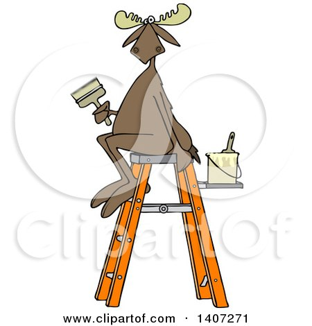 Clipart of a Cartoon Painter Moose Sitting on a Ladder and Holding a Brush - Royalty Free Vector Illustration by djart