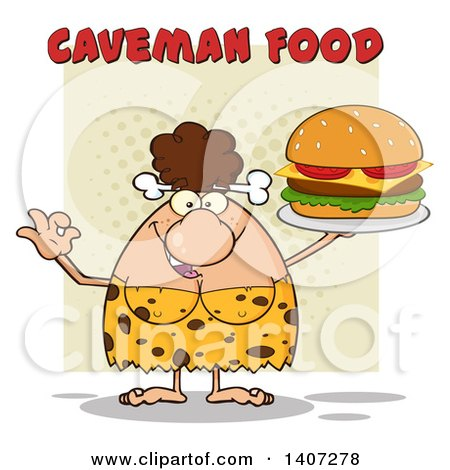 Clipart of a Brunette Cave Woman Gesturing Ok and Serving a Cheeseburger, on Green - Royalty Free Vector Illustration by Hit Toon