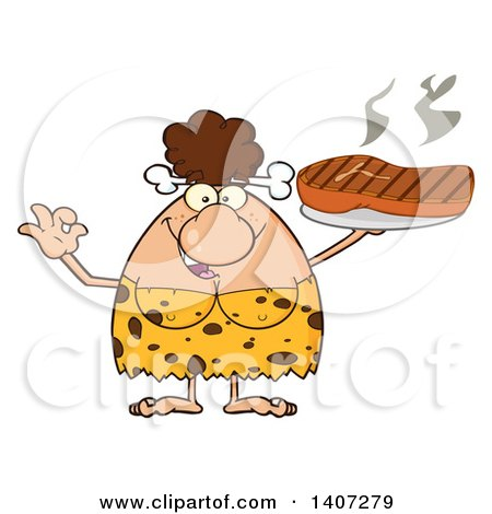 Clipart of a Brunette Cave Woman Gesturing Ok and Holding a Grilled Steak - Royalty Free Vector Illustration by Hit Toon