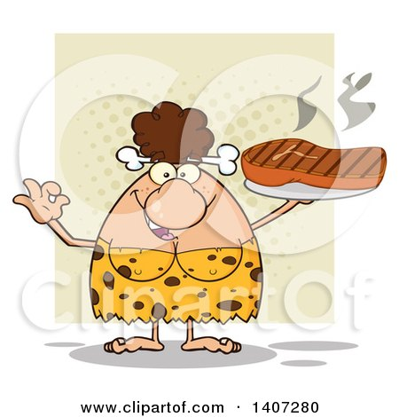 Clipart of a Brunette Cave Woman Gesturing Ok and Holding a Grilled Steak, on Green - Royalty Free Vector Illustration by Hit Toon