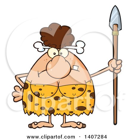 Clipart of a Mad Brunette Cave Woman Holding a Spear - Royalty Free Vector Illustration by Hit Toon