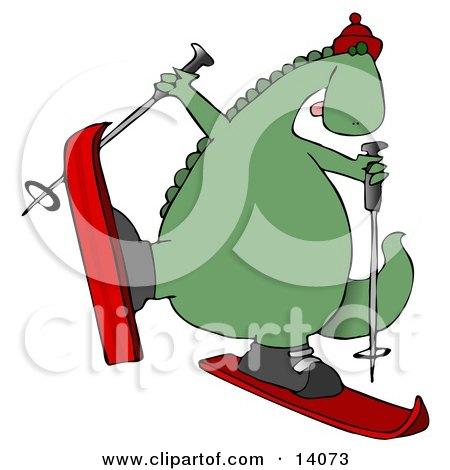 Happy Dinosaur Skiing Clipart Illustration by djart