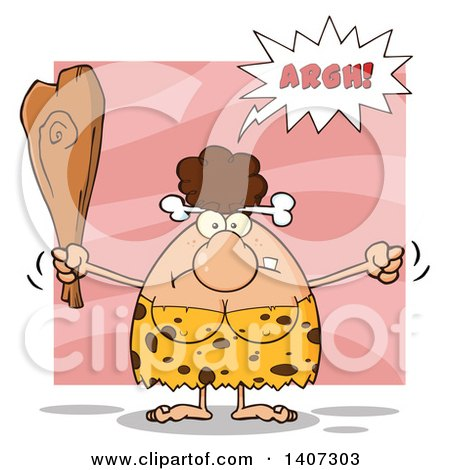 Clipart of a Mad Brunette Cave Woman Waving a Fist and Club, on Pink - Royalty Free Vector Illustration by Hit Toon