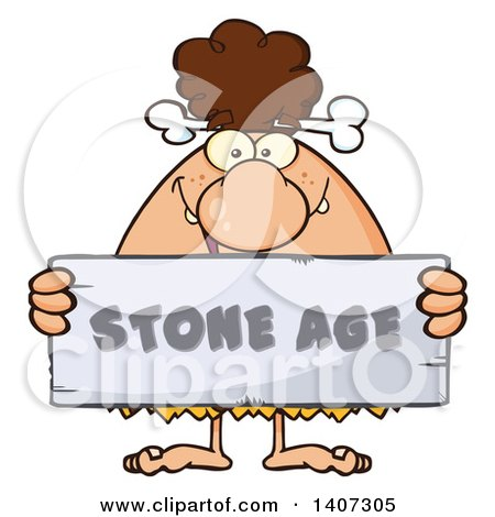 Clipart of a Brunette Cave Woman Holding a Stone Age Sign - Royalty Free Vector Illustration by Hit Toon