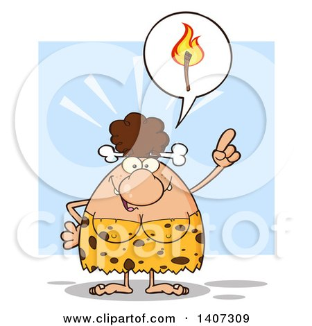 Clipart of a Brunette Cave Woman Thinking About Fire, on Blue - Royalty Free Vector Illustration by Hit Toon