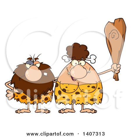 Clipart of a Caveman and Brunette Woman Couple - Royalty Free Vector Illustration by Hit Toon