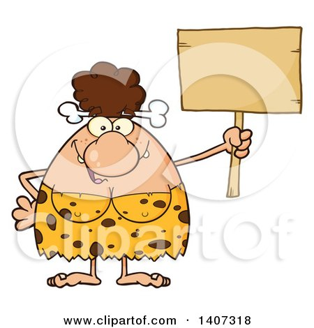 Clipart of a Brunette Cave Woman Holding a Blank Sign - Royalty Free Vector Illustration by Hit Toon