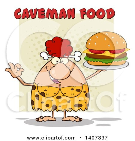 Clipart of a Red Haired Cave Woman Gesturing Ok and Serving a Cheeseburger, on Green - Royalty Free Vector Illustration by Hit Toon