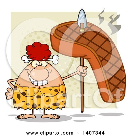 Clipart of a Red Haired Cave Woman Holding a Grilled Steak on a Spear, on Green - Royalty Free Vector Illustration by Hit Toon