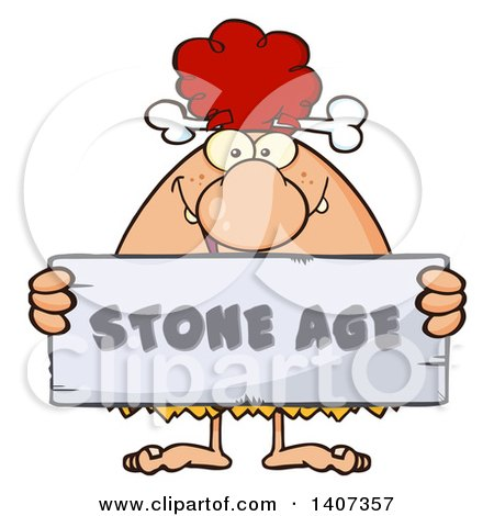 Clipart of a Red Haired Cave Woman Holding a Stone Age Sign - Royalty Free Vector Illustration by Hit Toon
