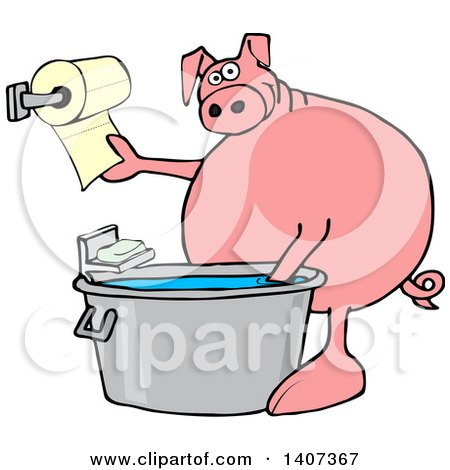 Clipart of a Cartoon Pig Washing His Hands in a Tub and Reaching for Paper Towels - Royalty Free Vector Illustration by djart