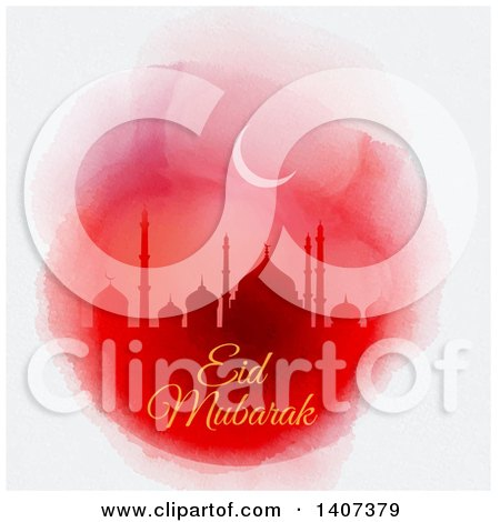 Clipart of an Eid Mubarak Background with a Silhouetted Mosque and Text - Royalty Free Vector Illustration by KJ Pargeter