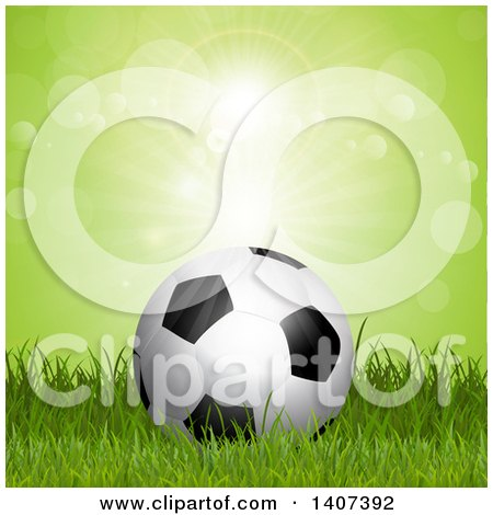 Clipart of a 3d Soccer Ball on Grass Against Green Flares - Royalty Free Vector Illustration by KJ Pargeter