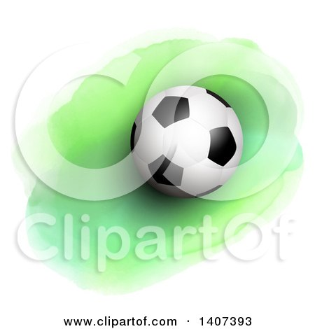 Clipart of a 3d Soccer Ball on Green Watercolor - Royalty Free Vector Illustration by KJ Pargeter