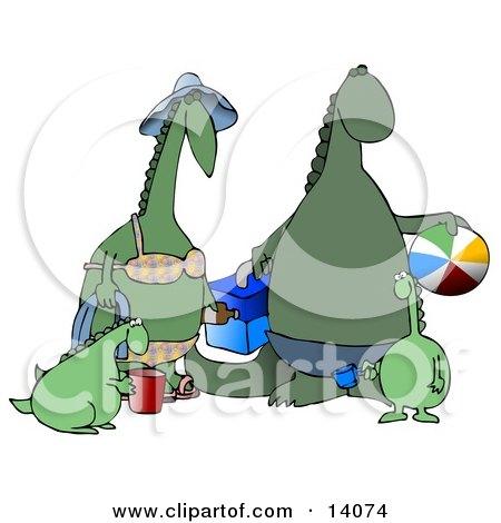 Happy Green Dinosaur Family Having Fun at the Beach Clipart Illustration by djart