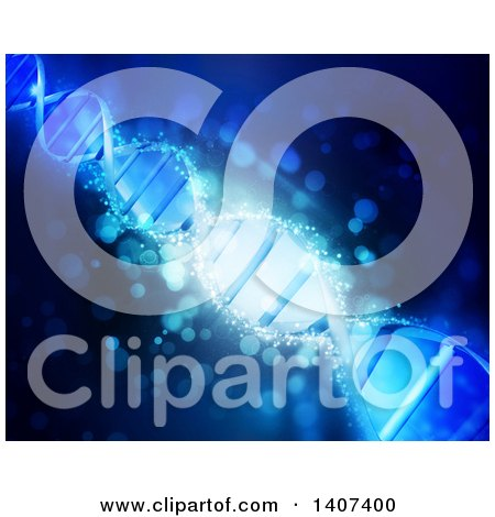 Clipart of a Background of a 3d Diagonal Dna Strand in Blue - Royalty Free Illustration by KJ Pargeter