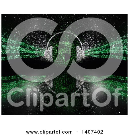 Clipart of a 3d Globe with Sparkle Headphones and Green Binary Code on Black with a Reflection - Royalty Free Illustration by KJ Pargeter