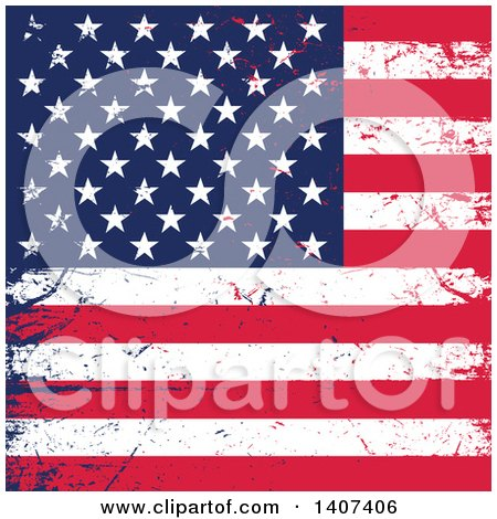 Clipart of a Distressed Grungy American Flag Background - Royalty Free Vector Illustration by KJ Pargeter