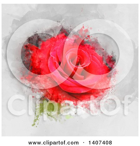 Clipart of a Red Rose with Grunge - Royalty Free Illustration by KJ Pargeter