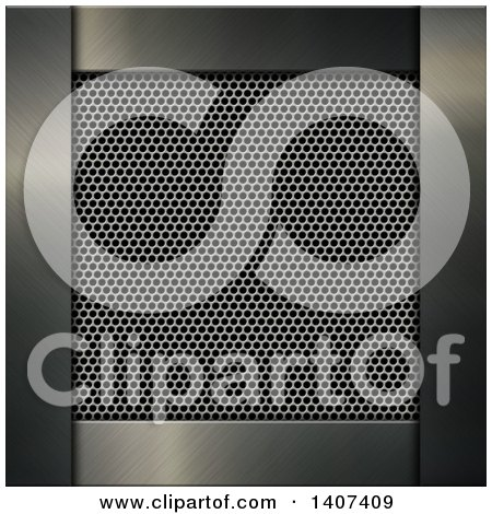 Clipart of a Metal Mesh Grill Framed in Solid Metal - Royalty Free Vector Illustration by KJ Pargeter