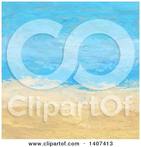 Clipart of a Painted Abstract Beach Landscape - Royalty Free Vector Illustration by KJ Pargeter