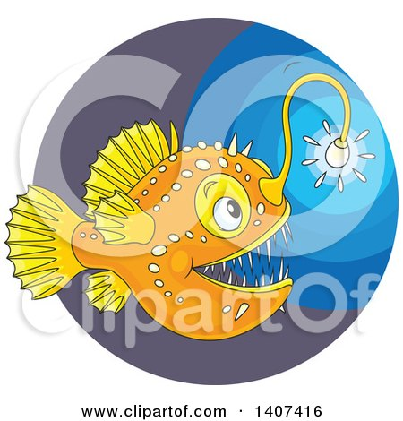Clipart of a Shining Angler Fish in the Deep Sea - Royalty Free Vector Illustration by Alex Bannykh