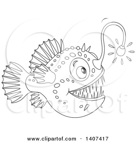 Clipart of a Black and White Lineart Shining Angler Fish ...