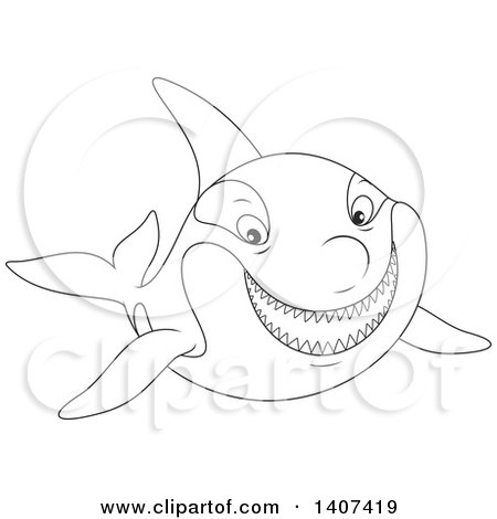 Clipart of a Black and White Lineart Killer Whale Orca Swimming - Royalty Free Vector Illustration by Alex Bannykh