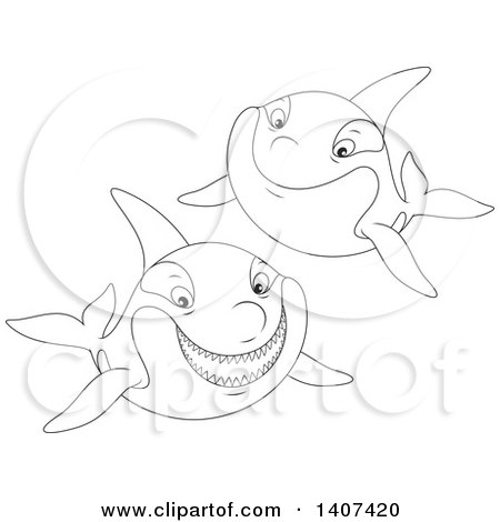 Clipart of Black and White Lineart Killer Whale Orcas Swimming - Royalty Free Vector Illustration by Alex Bannykh